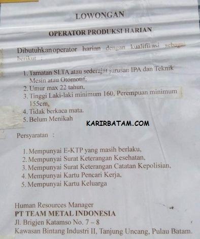 Lowongan Kerja PT. Team metal Indonesia