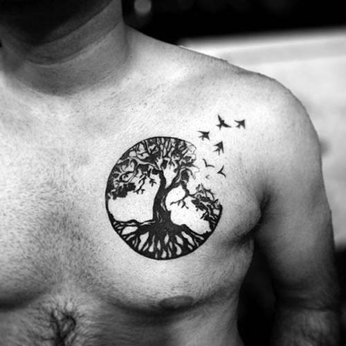 man chest bird tattoo erkek göğüs kuş dövmesi