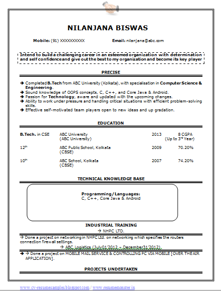 Computer+Science+&+Engineering+Resume+Sample+(1) Sample Curriculum Vitae For Graduate on