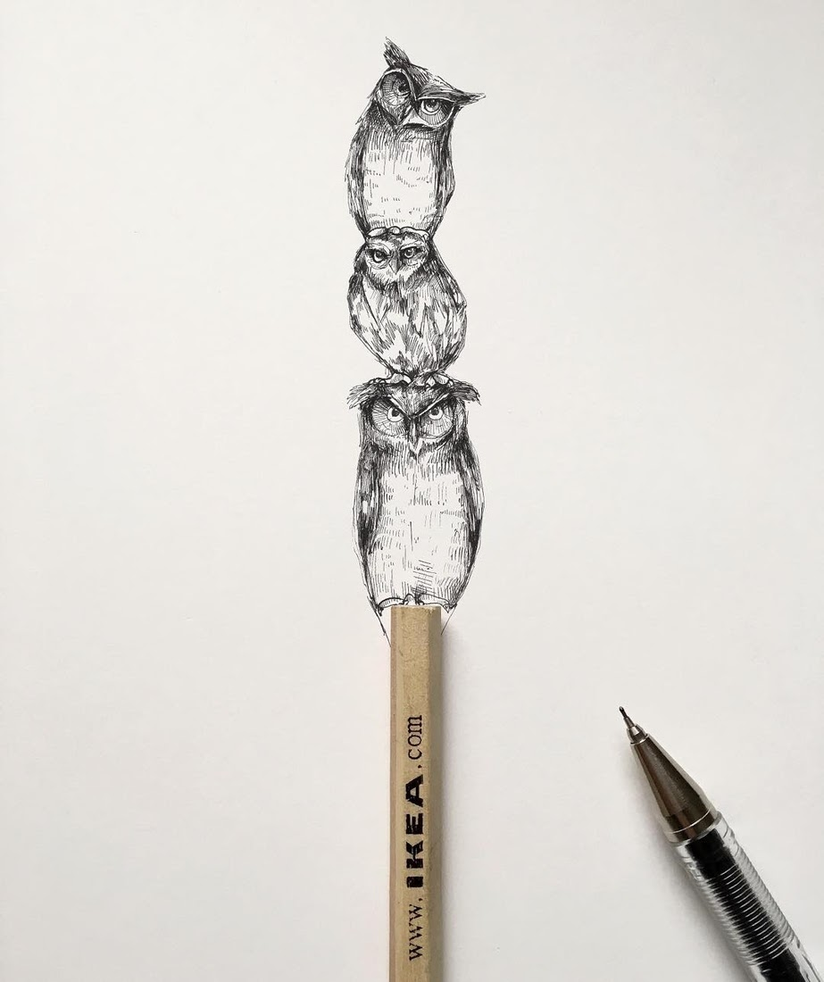 08-Owls-The-usefulness-of-Ikea-pencils-Alfred-Basha-Diverse-Black-and-White-Surreal-Drawings-www-designstack-co
