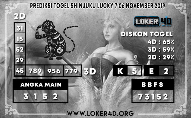 PREDIKSI TOGEL SHINJUKU LUCKY 7 LOKER4D 06 NOVEMBER 2019