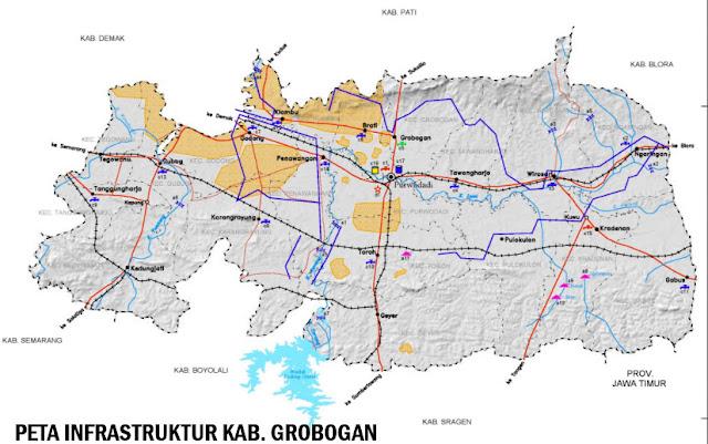 Gambar Peta Infrastruktur Kabupaten Grobogan Jawa Tengah