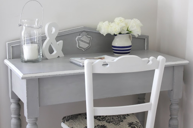 0f7b161ec41 Two pieces that I m letting go of are this gorgeous little desk and  matching chair. I painted the desk in ASCP Paris grey with pure white  highlights.