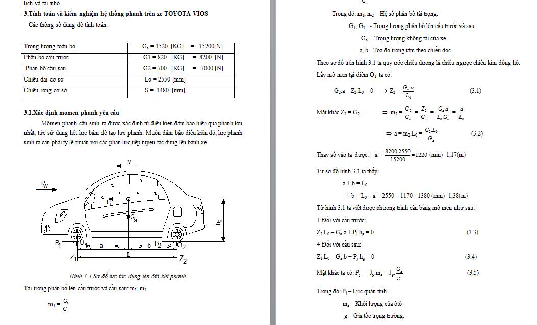 Tính toán và kiểm nghiệm hệ thống phanh trên xe TOYOTA VIOS