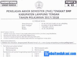Naskah Soal PAS/ UAS IPA Kelas 8 K13 Tahun 2018/2019