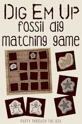 Paleontology Dig Travel Game // Party Through the USA // free printable // perfect for dinosaur themed homeschool or classroom units