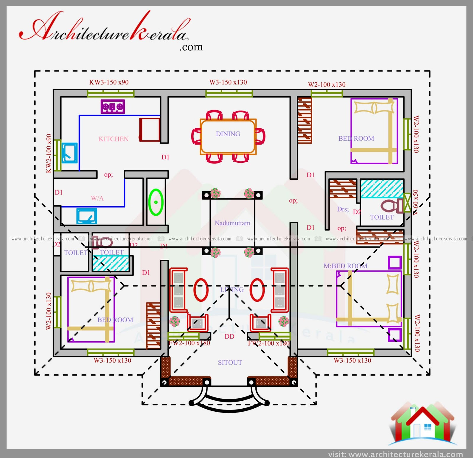 1200 sq ft house plan in nalukettu design architecture for Kerala style 2 bedroom house plans