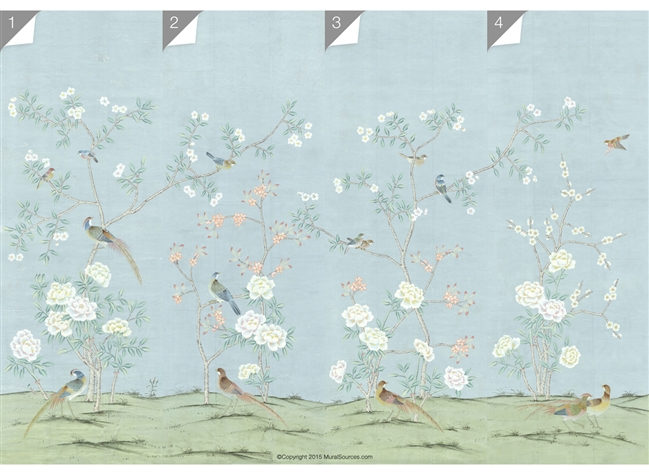 peonies and orange blossoms chinoiserie wallpaper for less