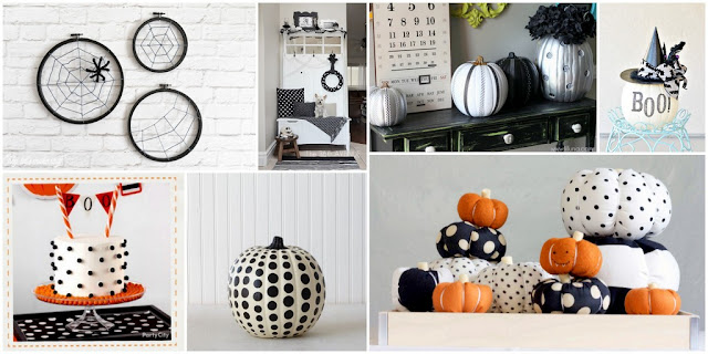 A collection of polka dot, circle, and spot Halloween DIY decorations and recipes