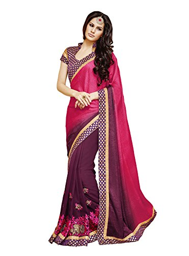 Bahubali Jacquard And Georgette Saree in multi colour