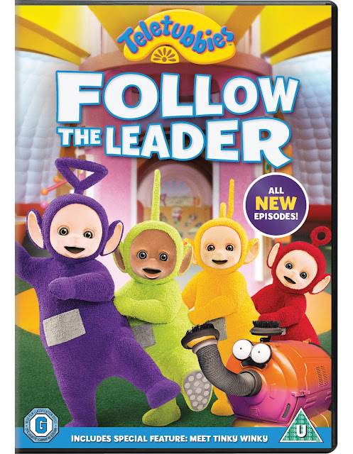 Cover art for Follow The Leader Teletubbies DVD featuring the Teletubbies doing a conga dance next to Noo Noo the Vacuum cleaner