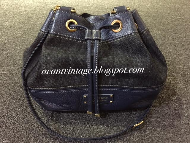 b6f9ce7e0e91 Burberry Blue Label Denim Leather Bucket Bag