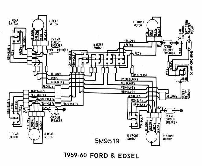 ford and edsel 1959-1960 windows wiring diagram | all ... 1959 ford thunderbird trunk diagram