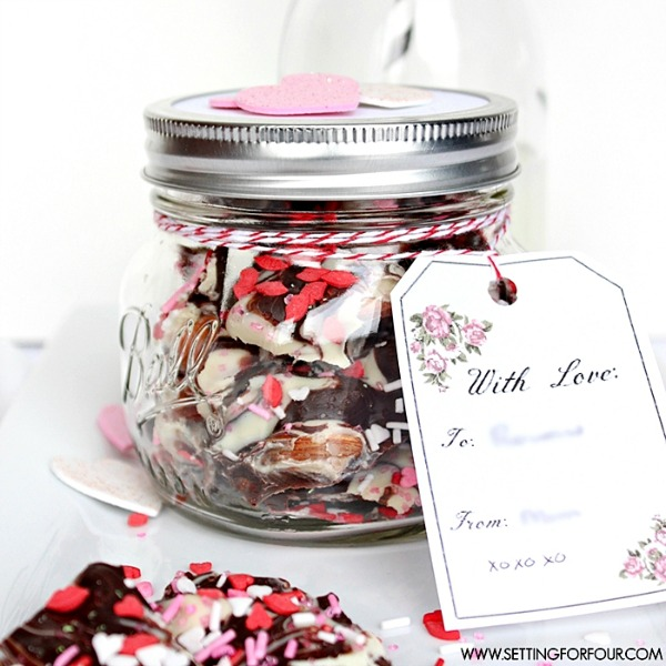 Chocolate Bark Mason Jar Valentine Gift from Setting for Four