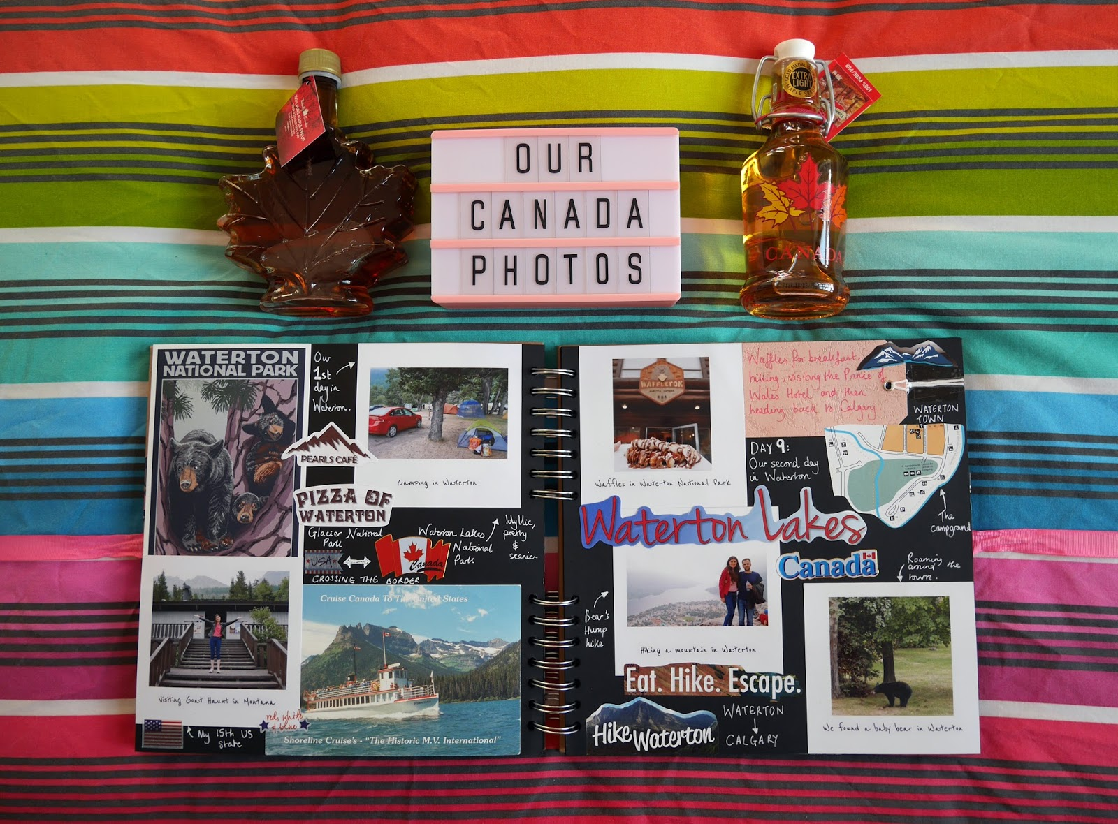 Canada travel scrapbook pages 11-12 (Waterton Lakes National Park) featuring Printiki's retro prints