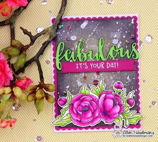 Floral  Card by Ellen Haxelmans | Peony Blooms Stamp and Die Set by Newton's Nook Designs #newtonsnook #handmade