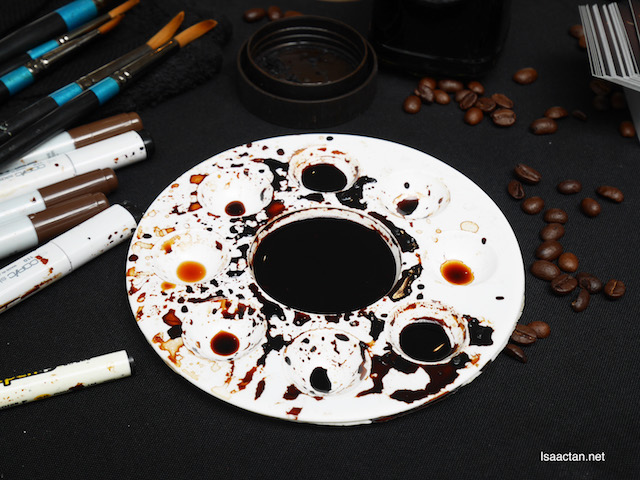 Real coffee used to draw and colour
