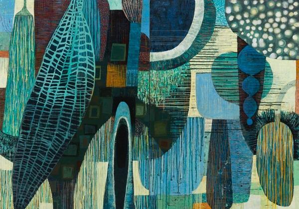 "Claire B Cotts, ""Woad and Lodestone""   obras de arte abstracto organico contemporaneo, pinturas abstractas, imagenes   art selecta pictures inspiration"
