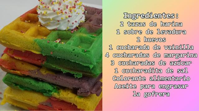 ingredientes gofres arcoiris