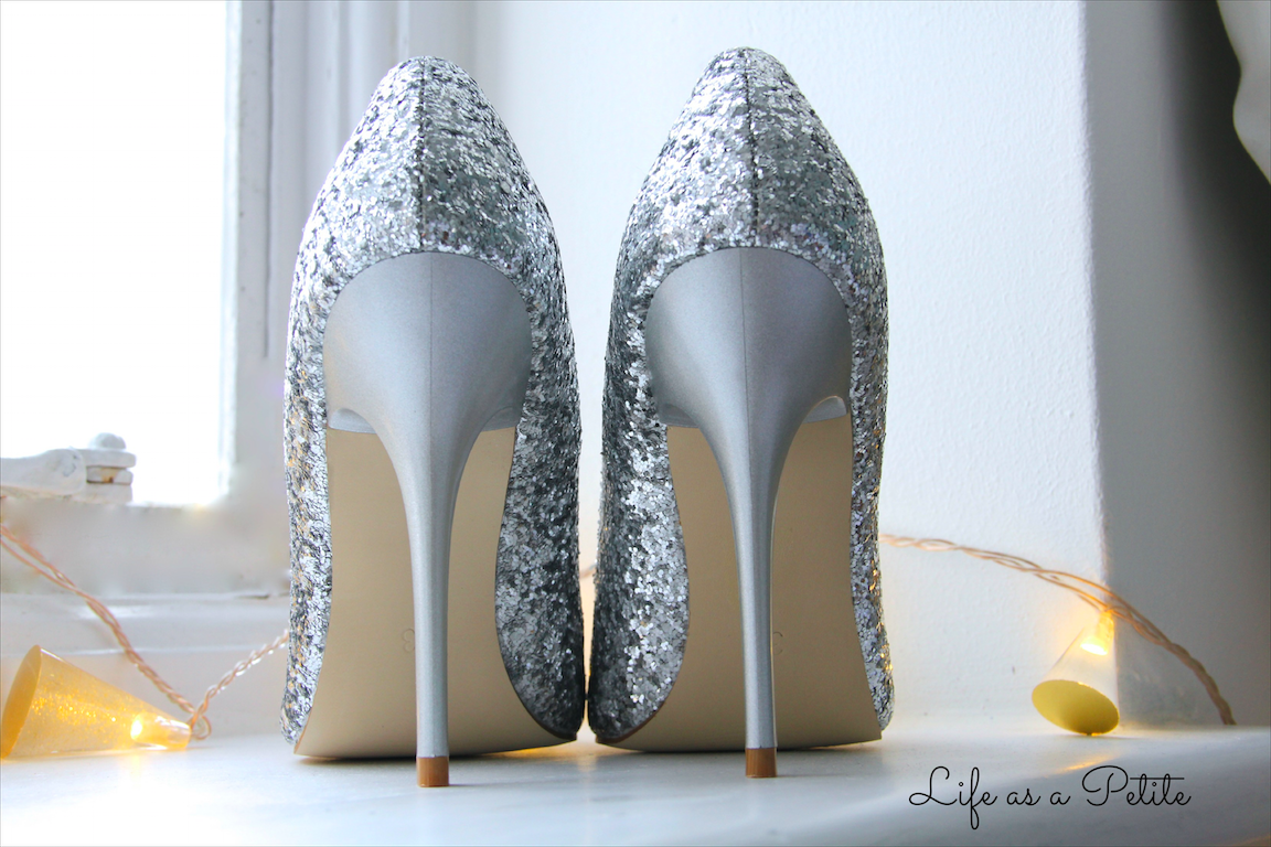 Silver Sequin Glitter Pointed Heels