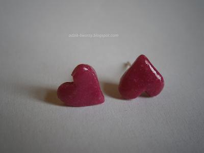 kolczyki-sztyfty serca różowe z modeliny