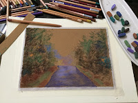 Beginning stage of a soft pastel painting on La Carte pastel card