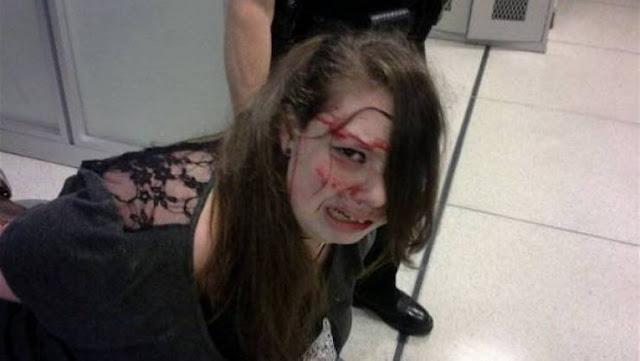 اعتدوا عليها في المطار وأمام الجميع! وضربوها وأصابوها بنزيف ورضوض قوية! ثم يحدثونا عن الحربة !!