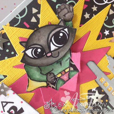 card cards paper smooches stampin up Stampin; Up! DSP It's my party challenge cat inktense derwent pencils coloring colouring pink crafty mama pinkcraftymama