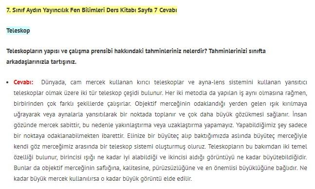 7. Sınıf Fen Bilimleri Ders Kitabı Cevapları Aydın Yayınları SAYFA 7