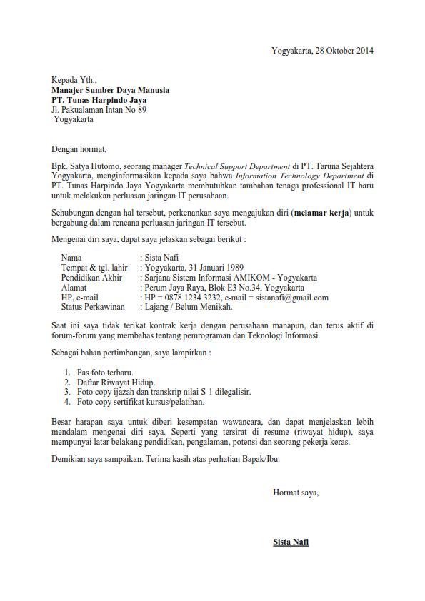 surat lamaran kerja referensi dari teman ben jobs