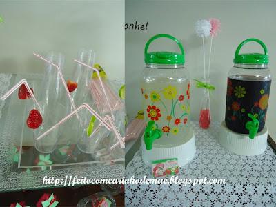 Suqueiras e copos decorados com frutas