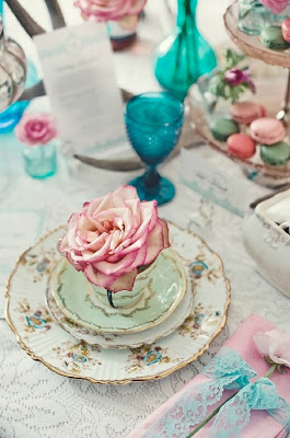 tea party place settings, pink and turquoise tea party