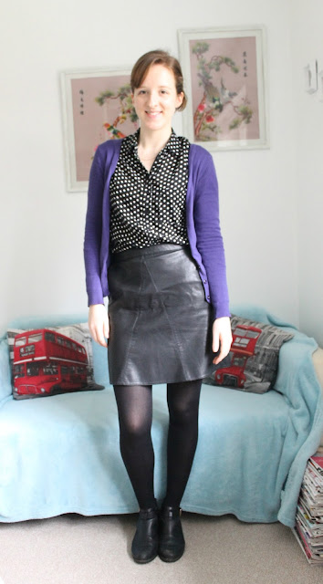 OOTD, Outfit, Outfit Of The Day, Zara, Zara Leather Skirt, New Look, New Look Spotty Shirt, Warehouse, H&M, Topshop, Fashion, Fashion Blogger
