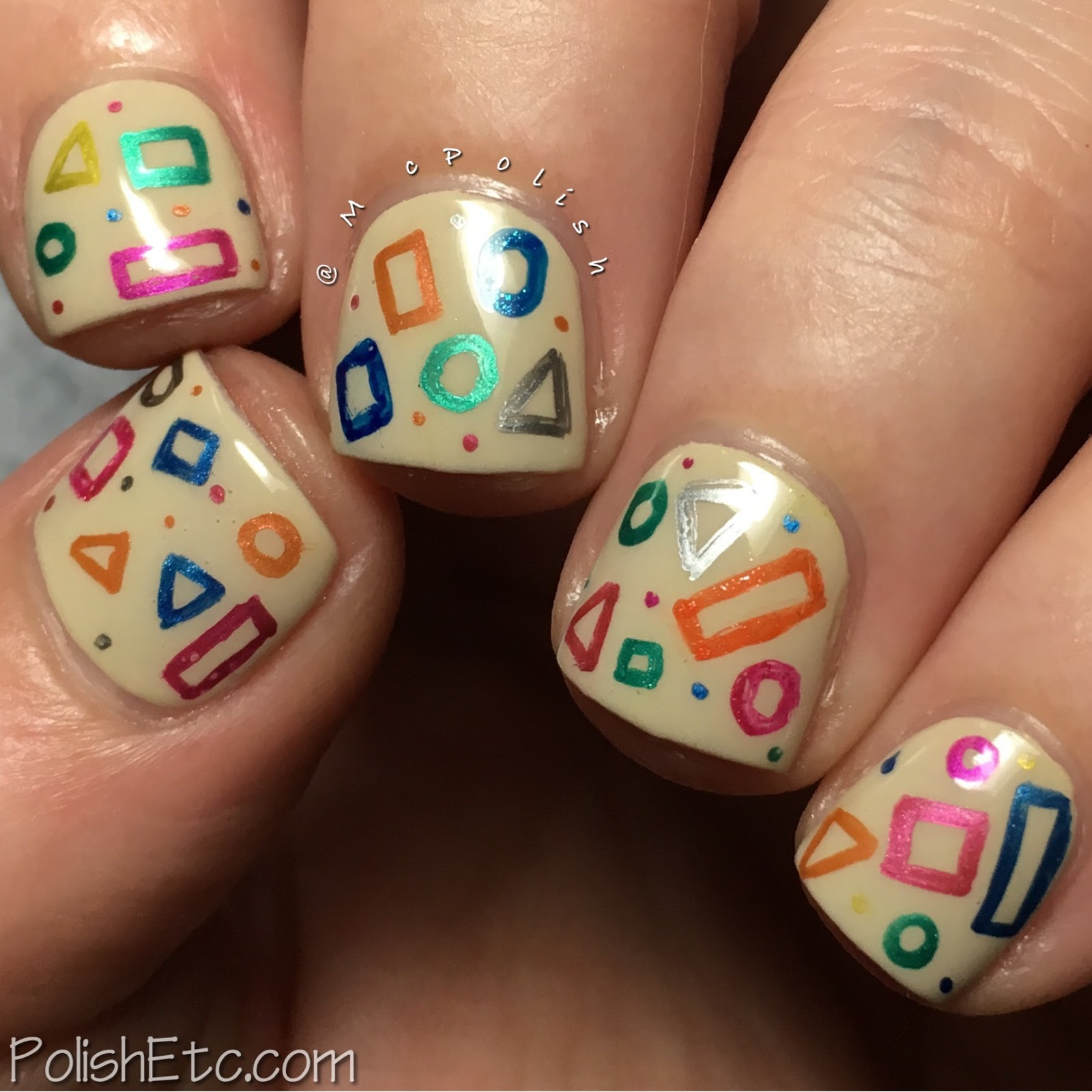Geometric shapes with gel pens for the #31DC2017Weekly by McPolish