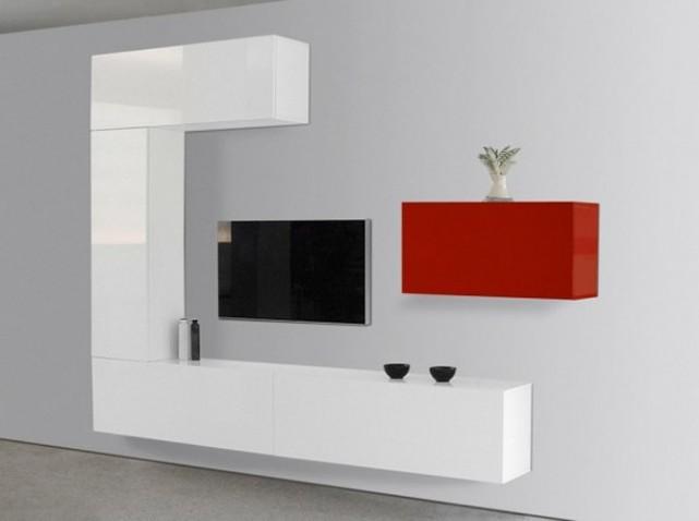 meuble mural tv fly table de lit. Black Bedroom Furniture Sets. Home Design Ideas