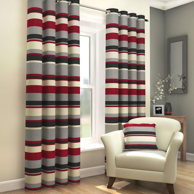 red and grey striped curtains for living room