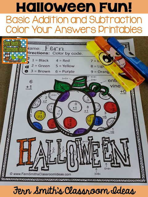 Eight Color By Code Halloween Addition and Subtraction Facts, Color By Number Printables for some Halloween Fun in your Classroom! Your students will adore these EIGHT Halloween Color By Numbers worksheets while learning and reviewing important skills at the same time! You will love the no prep, print and go ease of these printables. As always, answer keys are included.  Eight adorable Halloween Color by Number Addition and Subtraction Printables and ANSWER KEYS for Halloween. Perfect for October for the countdown to Halloween!