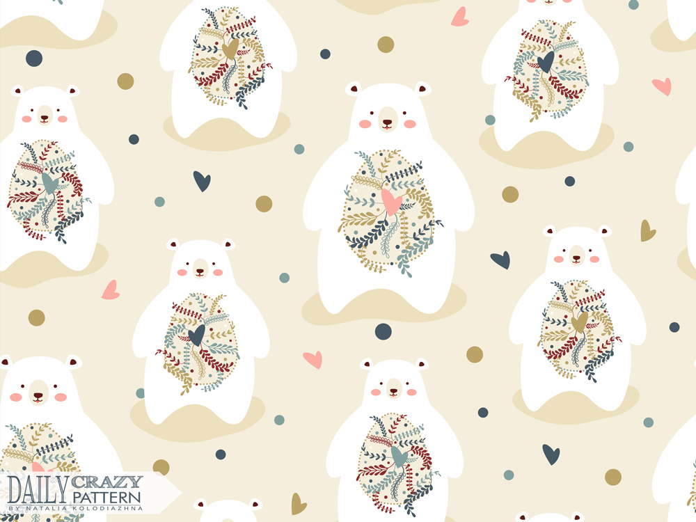 "Romantic art print with cute bears for ""Daily Crazy Pattern"" project"