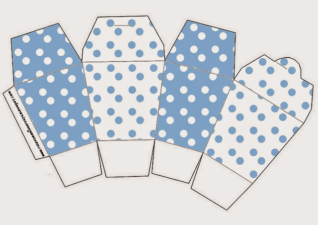 Light Blue with White Polka Dots Free Printable Chinese Take Away Box.