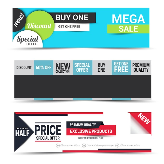 Sale promotion banners sets with modern style Free vector