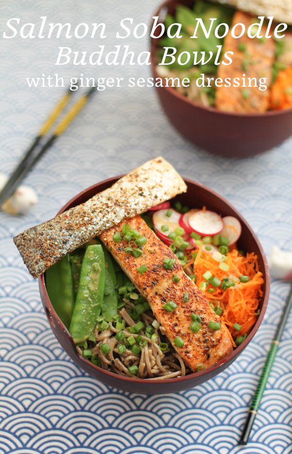 Food Lust People Love: Salmon Soba Noodle Buddha Bowls with Ginger Sesame Dressing are light, delicious and filling. Perfect for a summer dinner or packed lunch.
