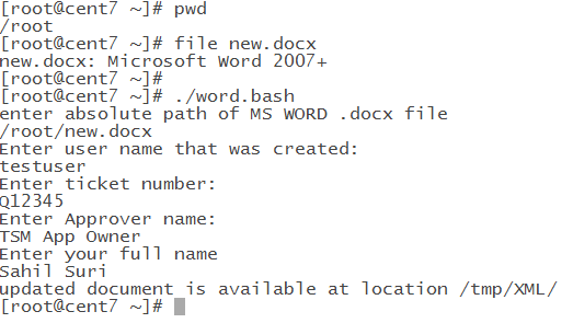 Bash script to update rows in a table in a MS word file - A system
