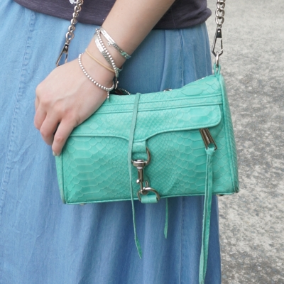 chambray maxi skirt, Rebecca Minkoff mini MAC in aquamarine | Away From The Blue