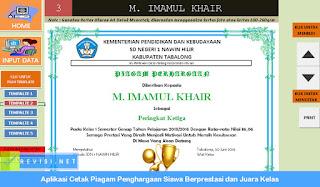 Aplikasi Cetak Piagam Penghargaan Siswa Berprestasi dan Juara Kelas