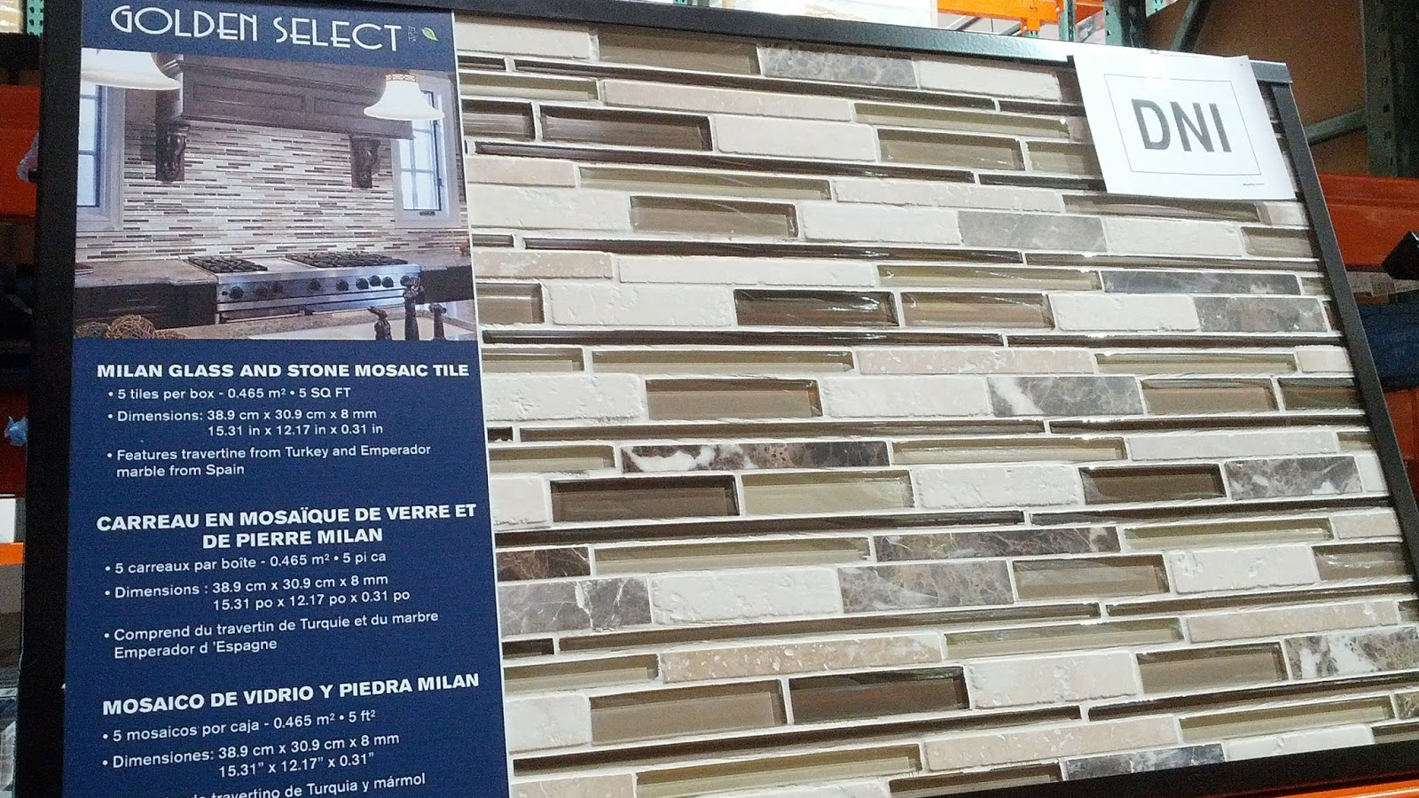 Golden Select Milan Glass Amp Stone Mosaic Wall Tiles 5 Pcs