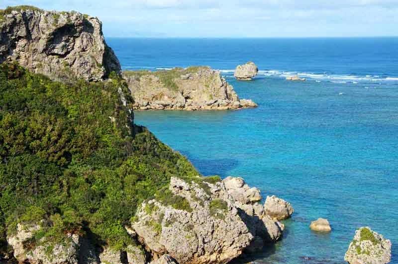 rocks, beach, island scene