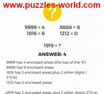 Puzzle If 9999 = 4 then 1919 = ? answer