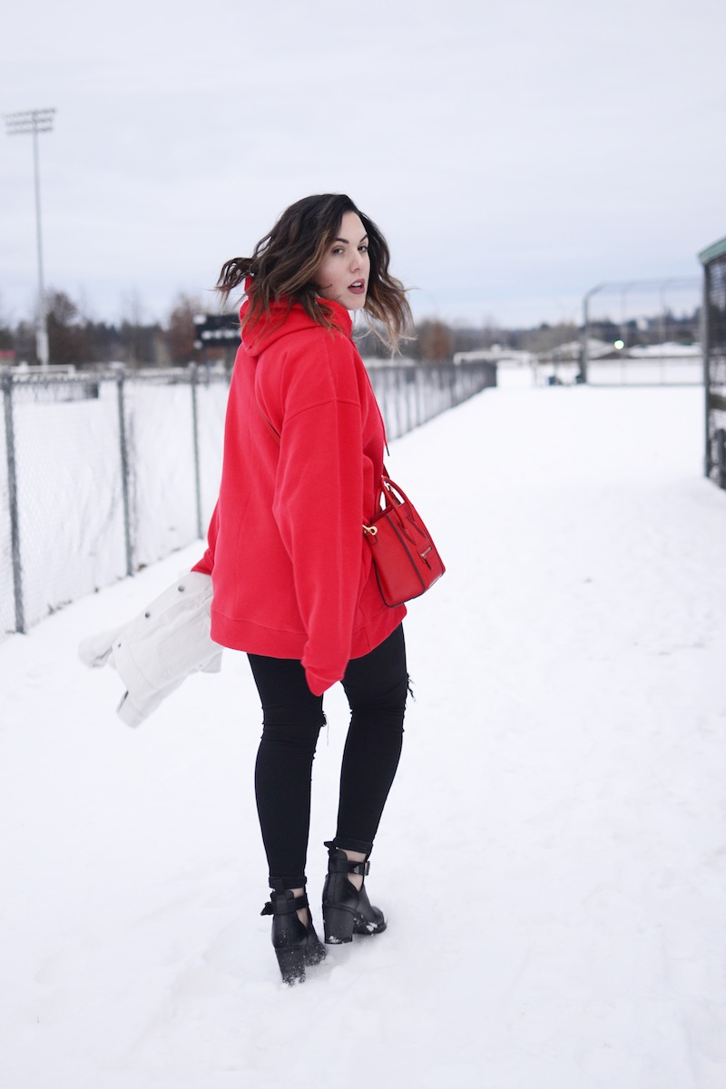 Oversized hoodie sweatshirt outfit idea red Champion hoodie Celine Nano bag  vancouver fashion blogger