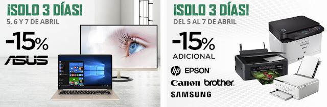 Top 10 ofertas promociones ¡Solo 3 días! -15% Asus y -15% impresoras de El Corte Inglés