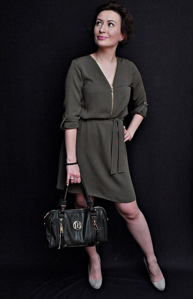 Adriana Style Blog, blog modowy Puławy, Difficult Green, Fashion, Fashion Blogger, Green Dress, Green Rules, Khaki, moda, Outfit, Phenomenal us challenge, River Island Dress, Stylizacja, Zielono Mi